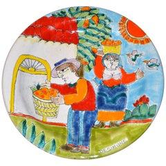 Italian Desimone Hand Painted Pottery Round Decor Plate Orange Picking, Italy