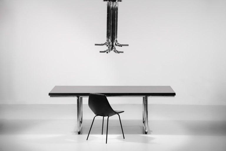 Mid-Century Modern Italian Desk / Dining Table Castelli 1970s Chrome For Sale