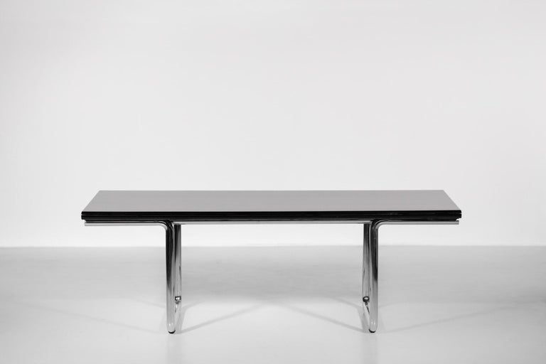 Italian Desk / Dining Table Castelli 1970s Chrome In Good Condition For Sale In Lyon, FR