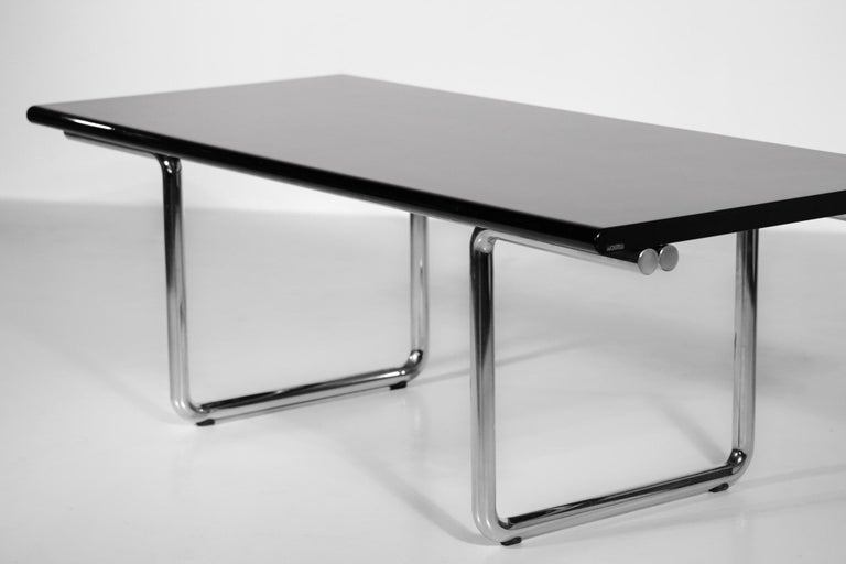 Late 20th Century Italian Desk / Dining Table Castelli 1970s Chrome For Sale