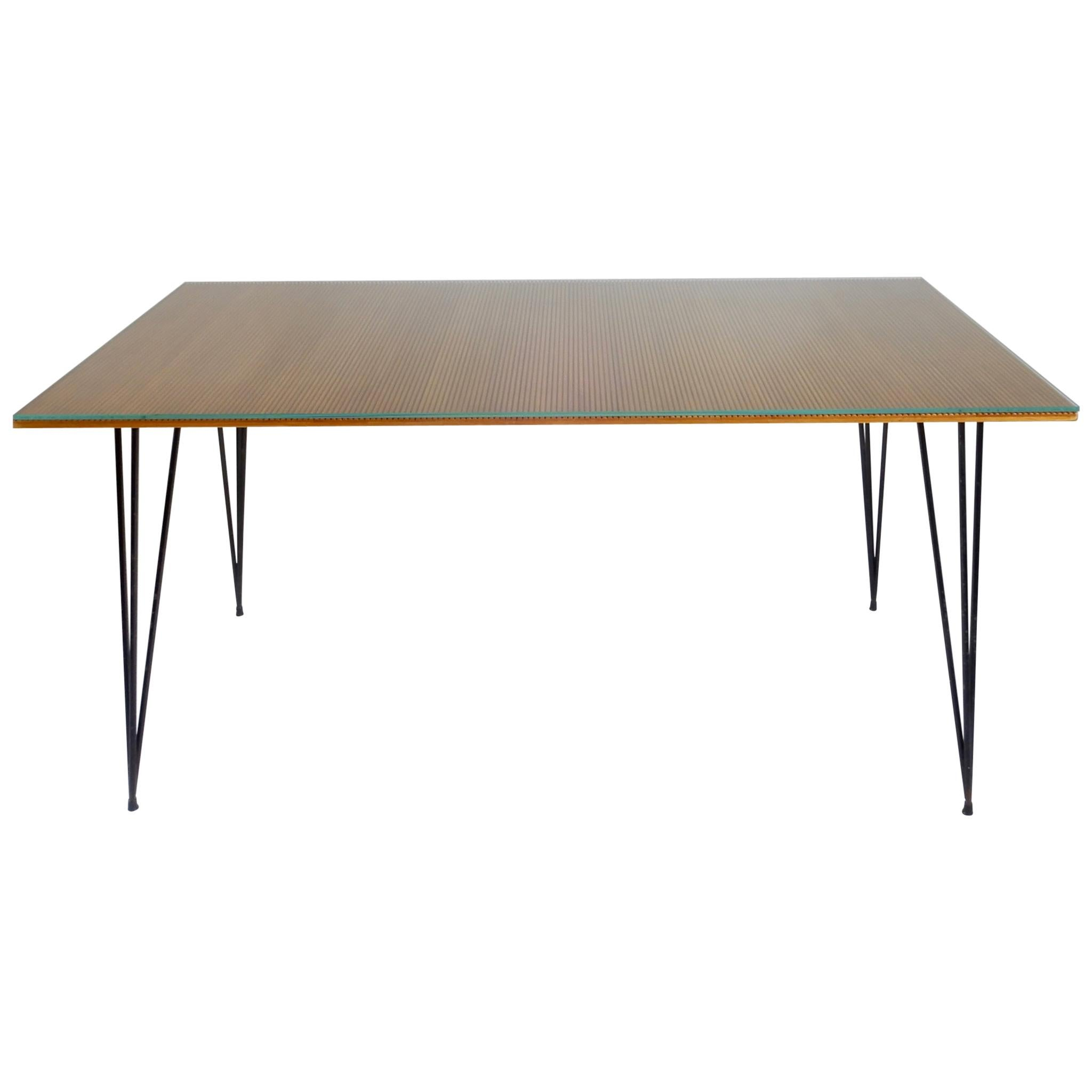 Italian Desk/ Dining Table with Wood Top and Black Metal Legs, 1950s