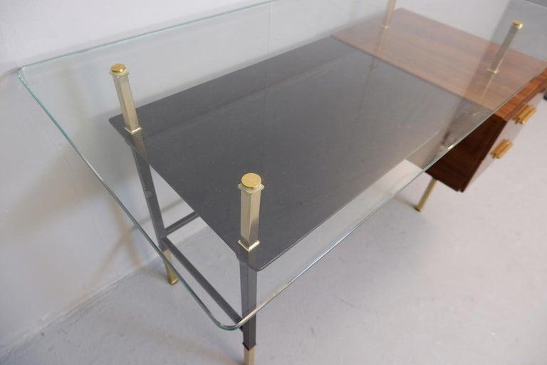 Mid-Century Modern Italian Desk, Glass Top For Sale