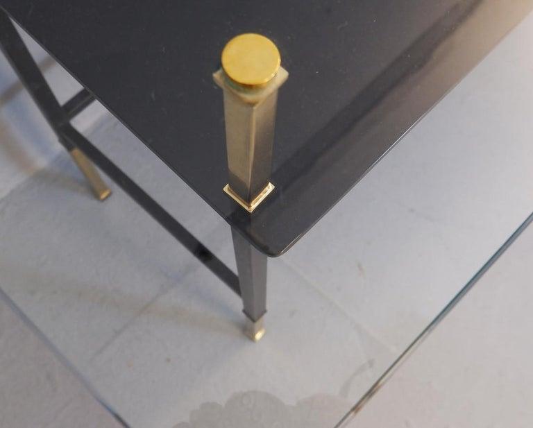 Wood Italian Desk, Glass Top For Sale