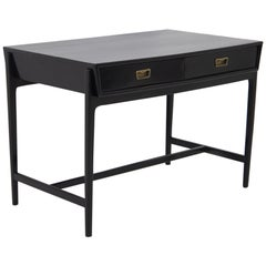 Italian Desk in Ebonized Wood and Brass, 1950s