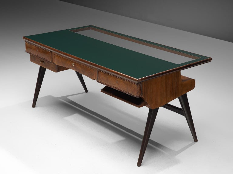 Mid-Century Modern Italian Desk in Rosewood and Brass For Sale