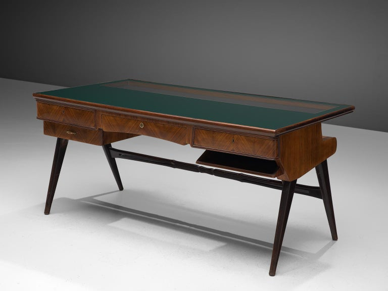 Mid-20th Century Italian Desk in Rosewood and Brass For Sale