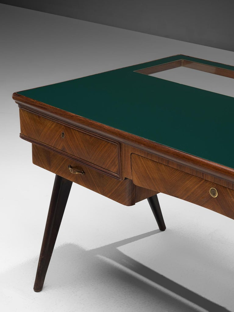 Glass Italian Desk in Rosewood and Brass For Sale