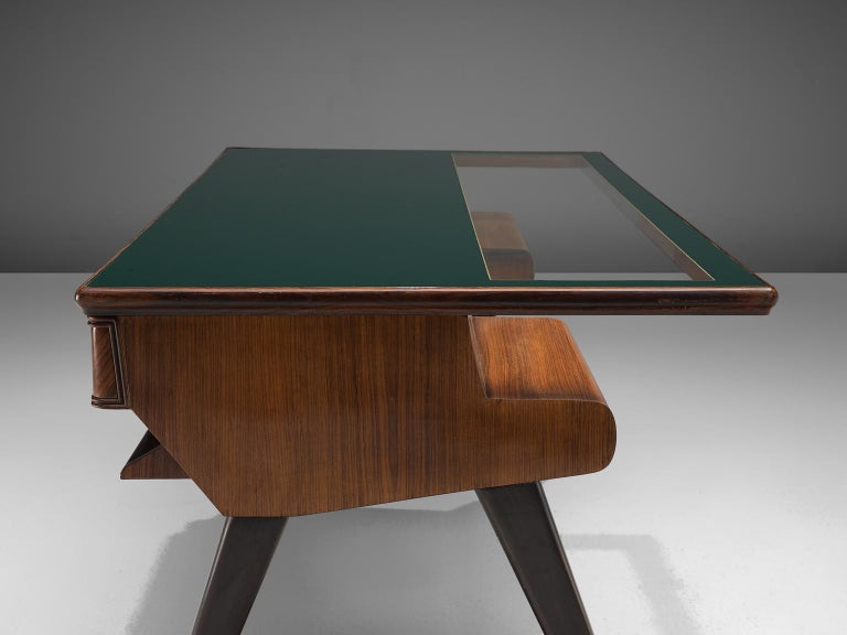 Italian Desk in Rosewood and Brass For Sale 2