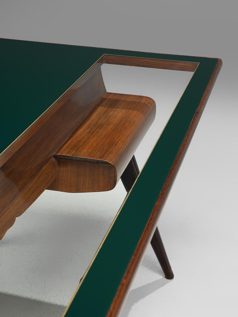 Italian Desk in Rosewood and Brass For Sale 3