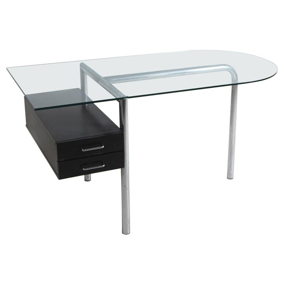 Italian Desk in Steel and Glass and Black Wood, 1970s