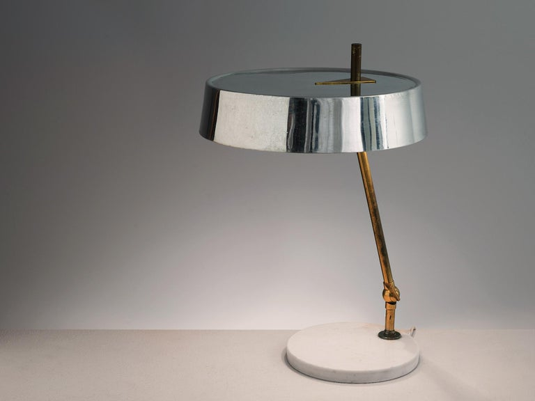 Mid-Century Modern Italian Desk Light in Marble and Brass For Sale