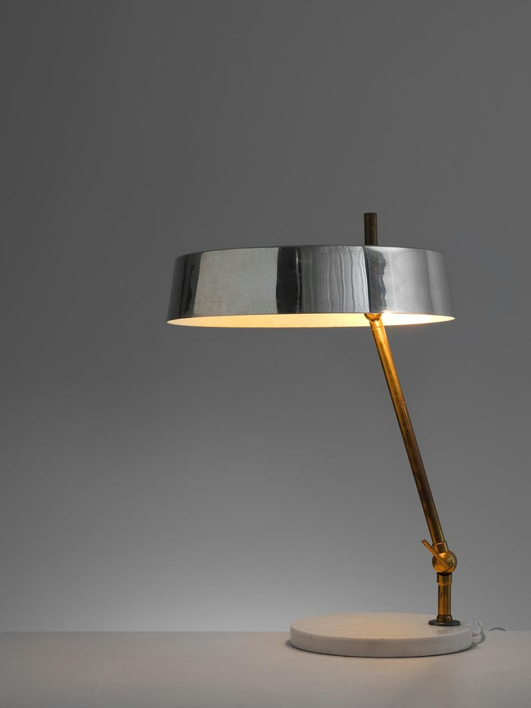 Mid-Century Modern Italian Desk Light with Mirrored Shade For Sale