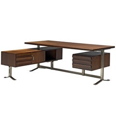 Italian Desk with Retour in Walnut and Metal