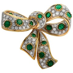 Italian Diamond and Emerald Bow Brooch Pin