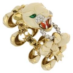 Italian Diamond and White Enamel Tiger Bracelet Set in 18 Karat Yellow Gold