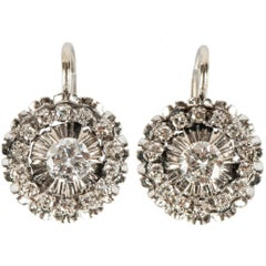 Italian Diamond and White Gold Cluster Earrings, 20th Century