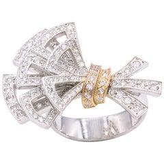 Italian Diamond Bow Ring 1.11 Carat 18 Karat