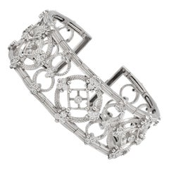 Italian Diamond Bracelet 2.48 Carat 18 Karat White Gold 58.6 Grams