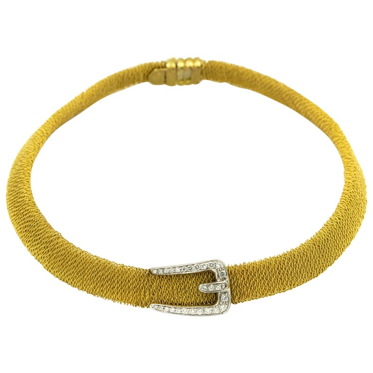 Italian Diamond Buckle Woven Mesh 18 Karat Yellow Gold Necklace For Sale