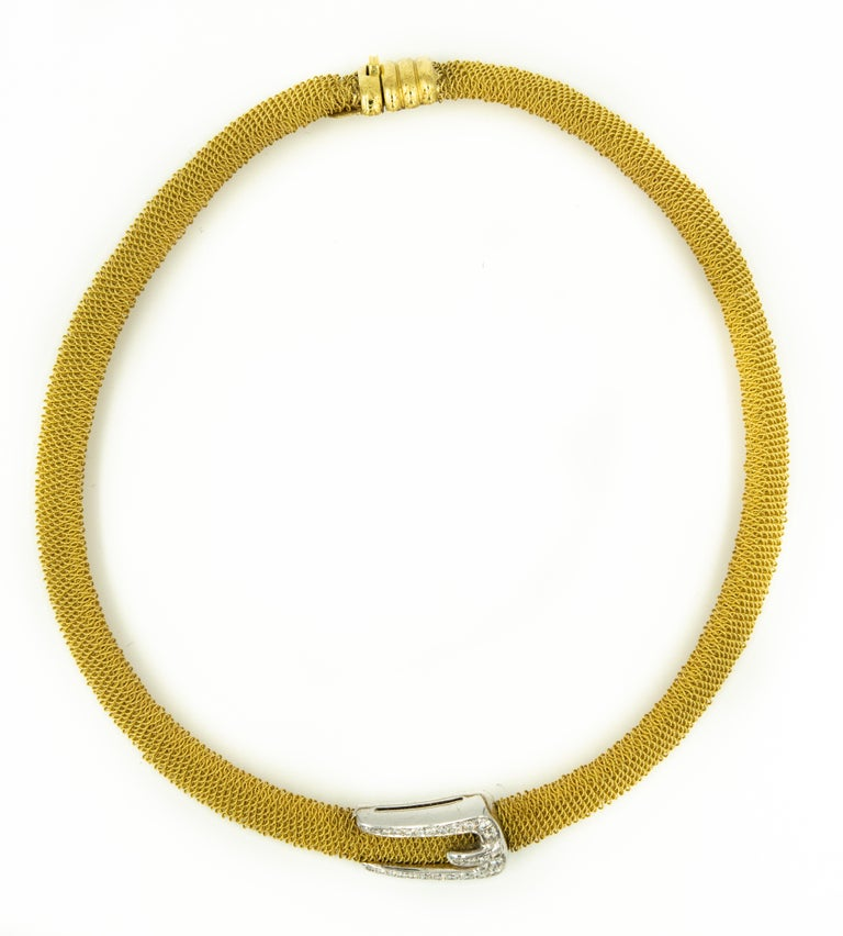 Round Cut Italian Diamond Buckle Woven Mesh 18 Karat Yellow Gold Necklace For Sale