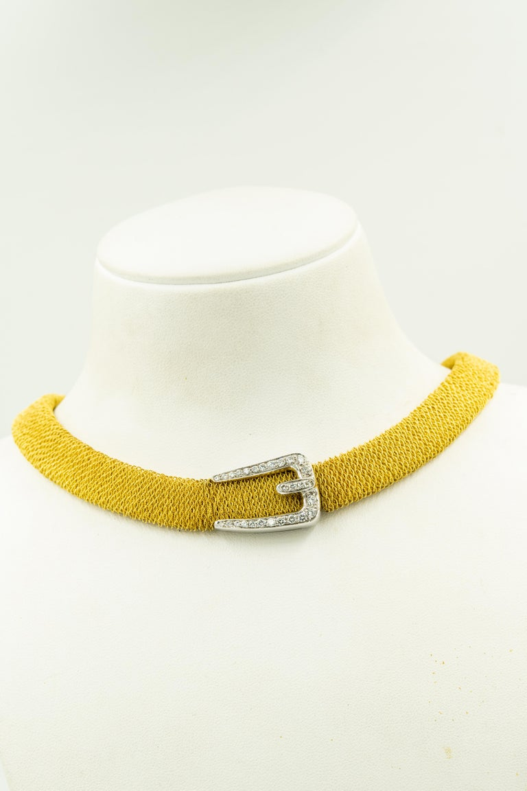 Italian Diamond Buckle Woven Mesh 18 Karat Yellow Gold Necklace For Sale 3