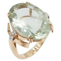 Italian Diamond Citrin Quartz 18 Carats Yellow Gold Ring