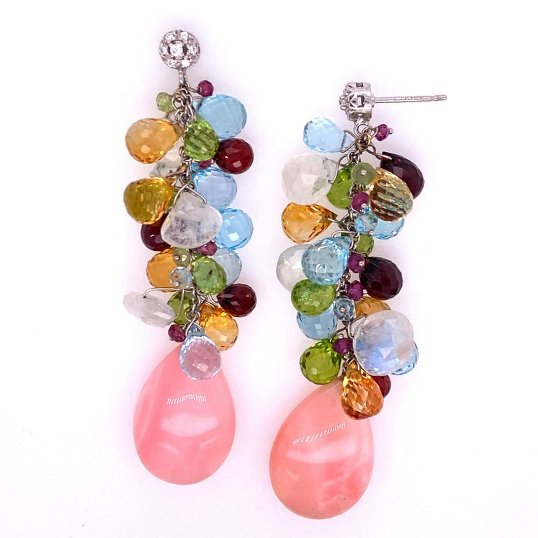 Round Cut Italian Diamond Coral Color Briolette Gemstone Drop Earrings 18KWG Signed Zoccai For Sale