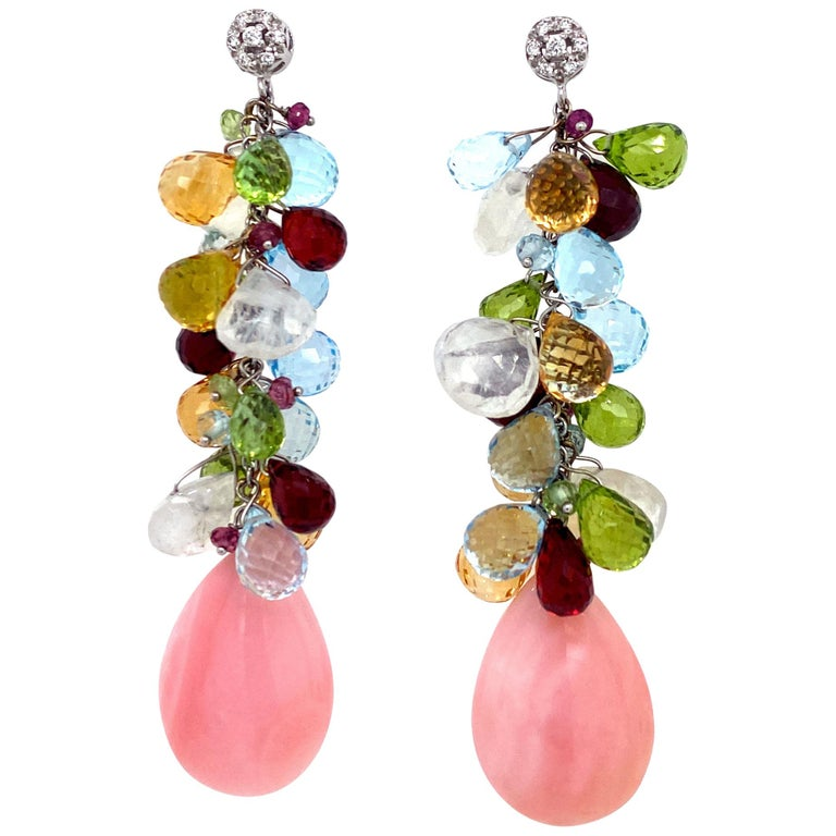 Italian Diamond Coral Color Briolette Gemstone Drop Earrings 18KWG Signed Zoccai For Sale