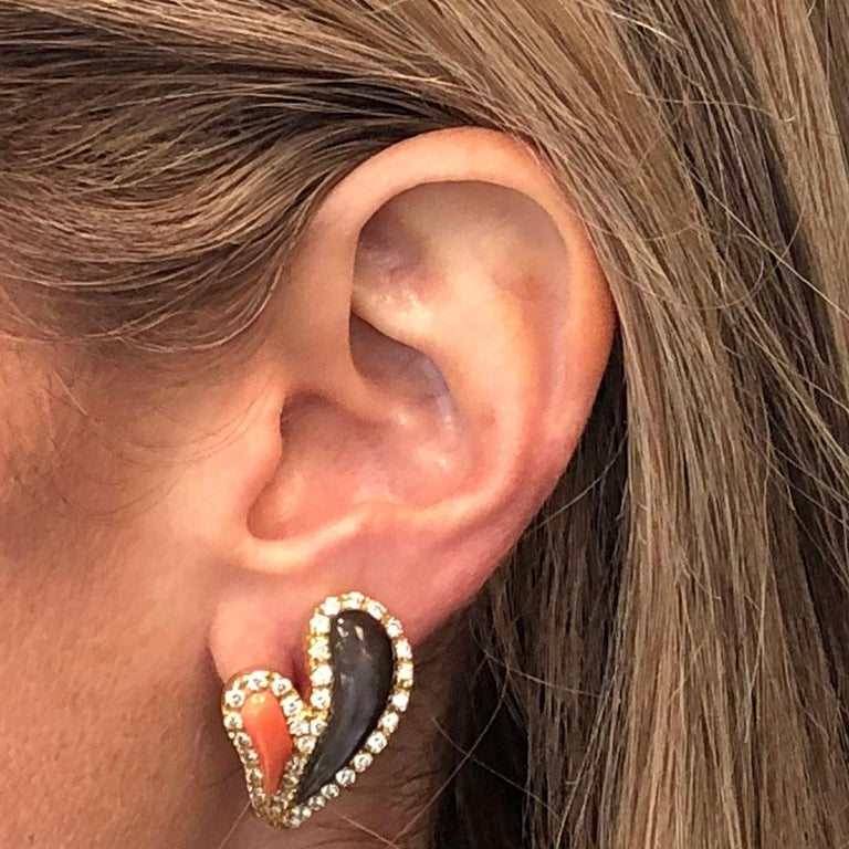 Round Cut Italian Diamond Coral Mother of Pearl 18 Karat Yellow Gold Earrings For Sale
