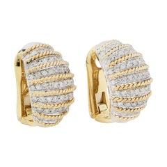 Italian Diamond Earrings in 18 Karat Yellow Gold