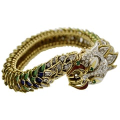 Italian Diamond Emerald Enamel Dragon Gold Bracelet
