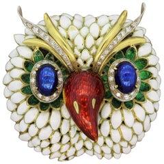 Italian Diamond Enamel Gold Owl Brooch