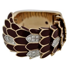Italian Diamond Enameled Gold Snake Scales Band Ring