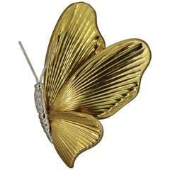 Italian Diamond Gold Butterfly Brooch
