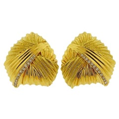 Italian Diamond Gold Large Earrings