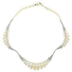 Italian Diamond Pearl Gold Necklace