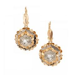Italian Diamond Rose White Gold Dangle Earrings