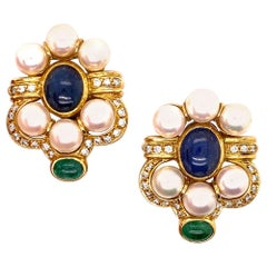Italian Diamond Sapphire Emerald Pearl 18 Karat Gold Earrings Signed Giovanni