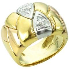 Italian Diamond Tri-Gold Band Ring