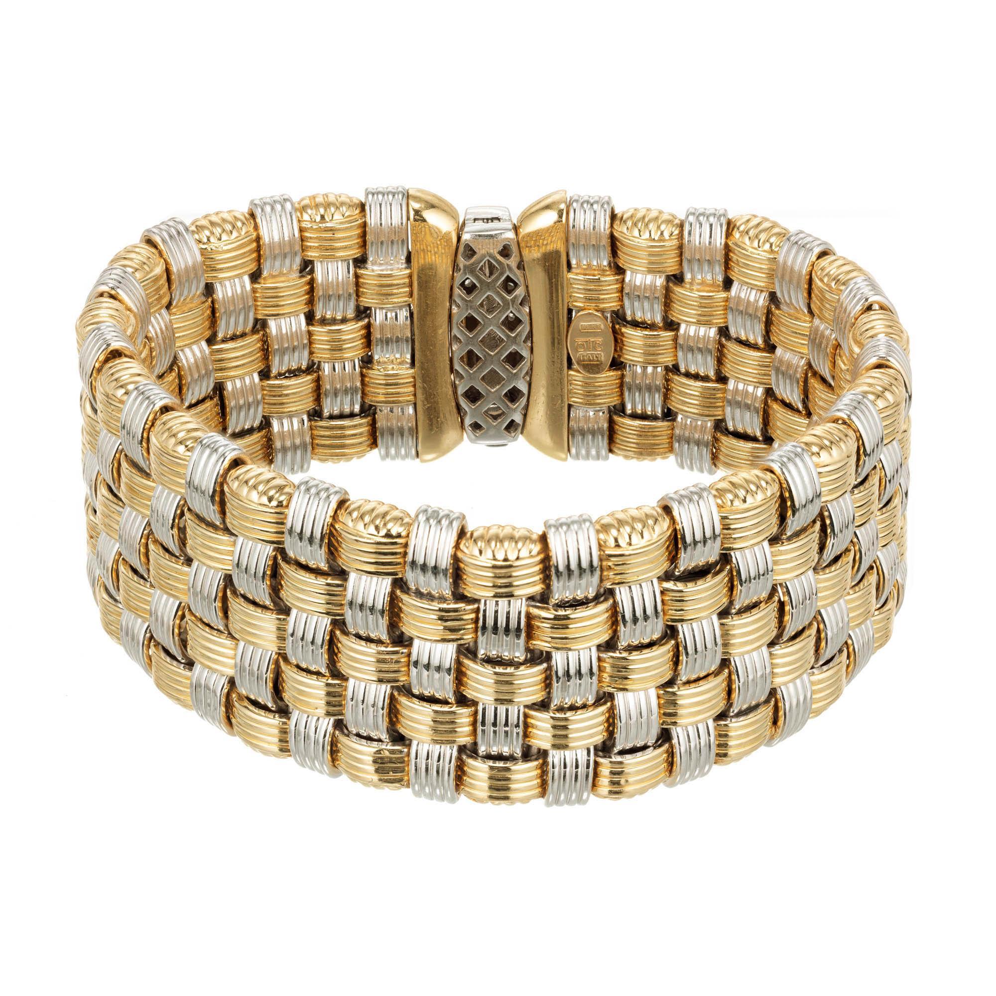 Italian Diamond Wide Two-Color Gold Mesh Bracelet