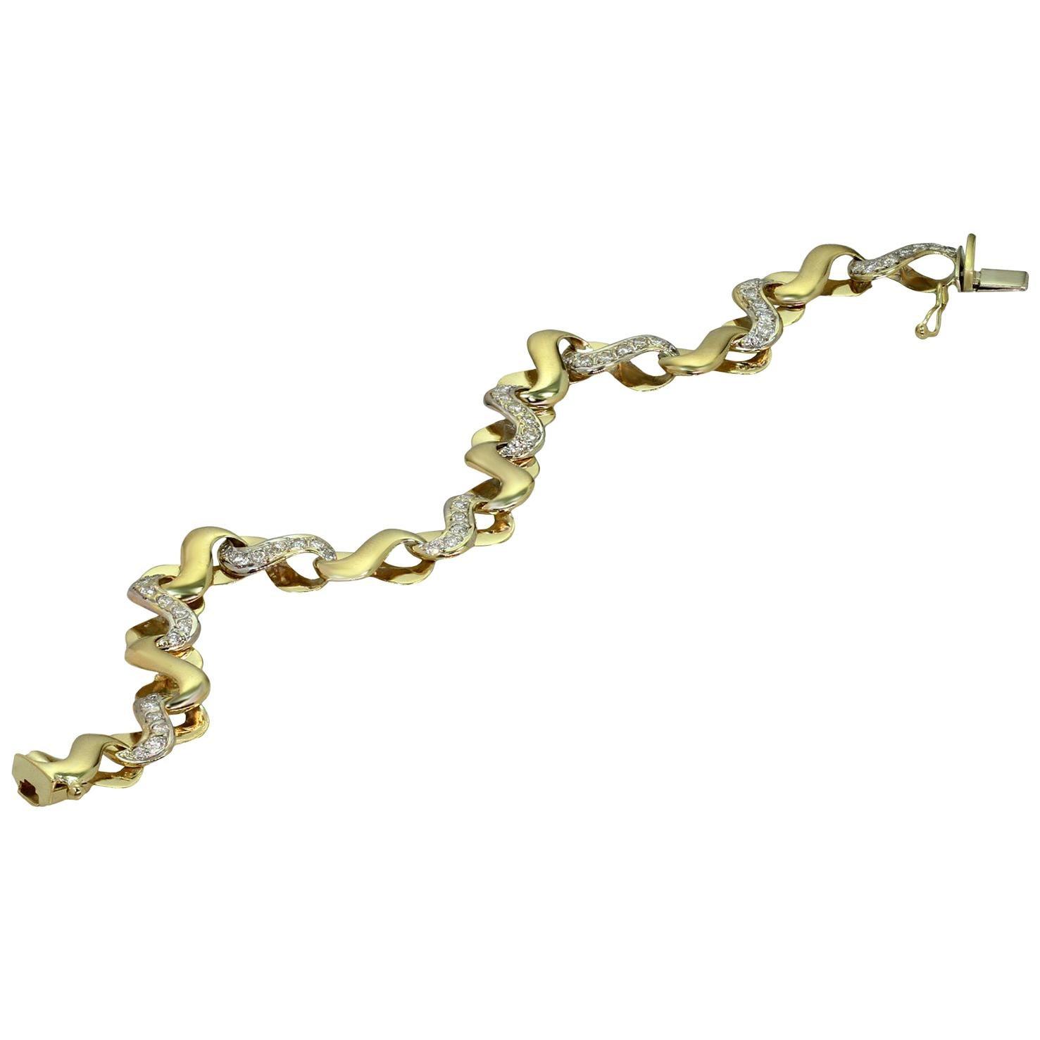 Italian Diamond Yellow Gold Link Bracelet