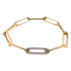Italian Diamond Yellow Gold Paperclip Link Bracelet 14 Karat White Gold