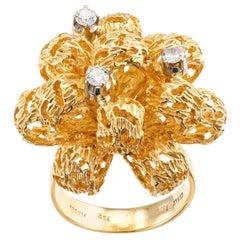 Italian Diamond Yellow Gold Puffed Ribbon Bow Cocktail Ring