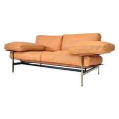 Italian Diesis Ochre Leather Sofa by Citterio & Nava for B&B Italia, 1979