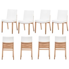 Italian Dining Chair Crafted of Natural Oak and Fine Leather, Set of 8