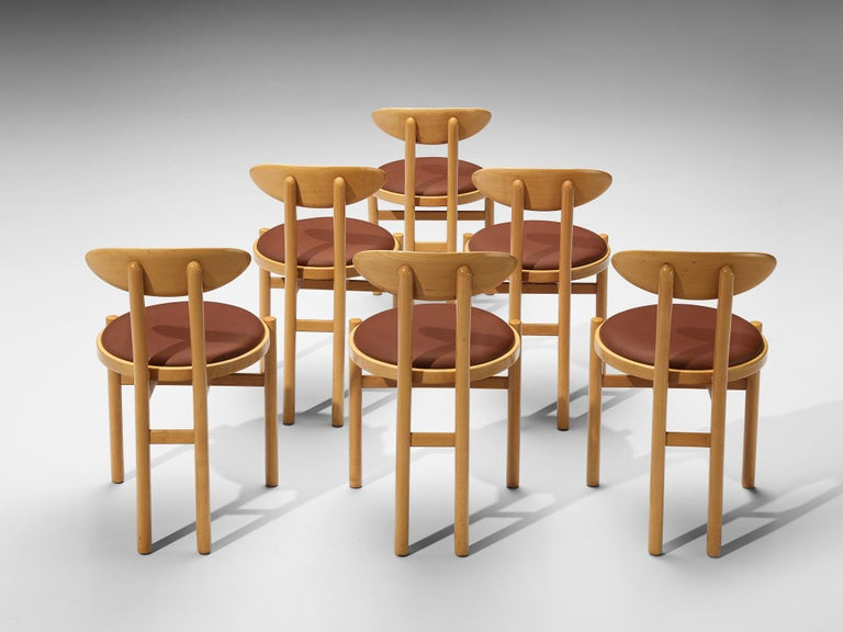 Italian Dining Chairs in Beech by Pozzi For Sale 4