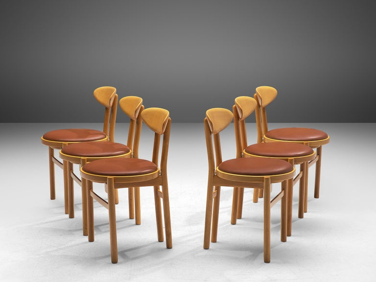 Italian Dining Chairs in Beech by Pozzi For Sale 6