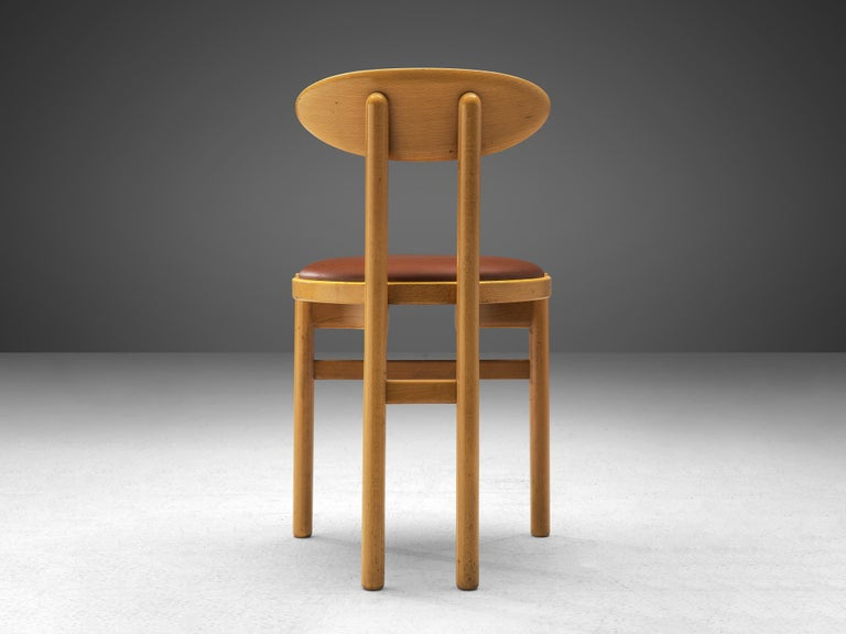 Late 20th Century Italian Dining Chairs in Beech by Pozzi For Sale