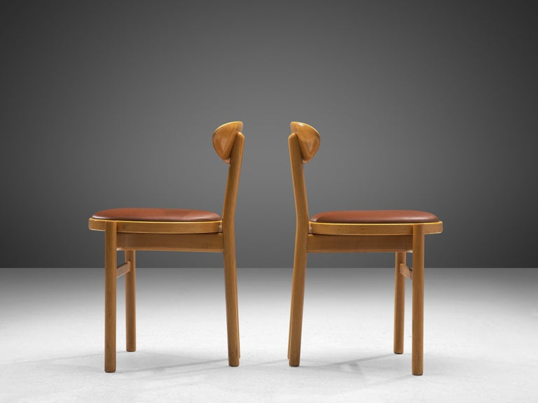 Italian Dining Chairs in Beech by Pozzi For Sale 3