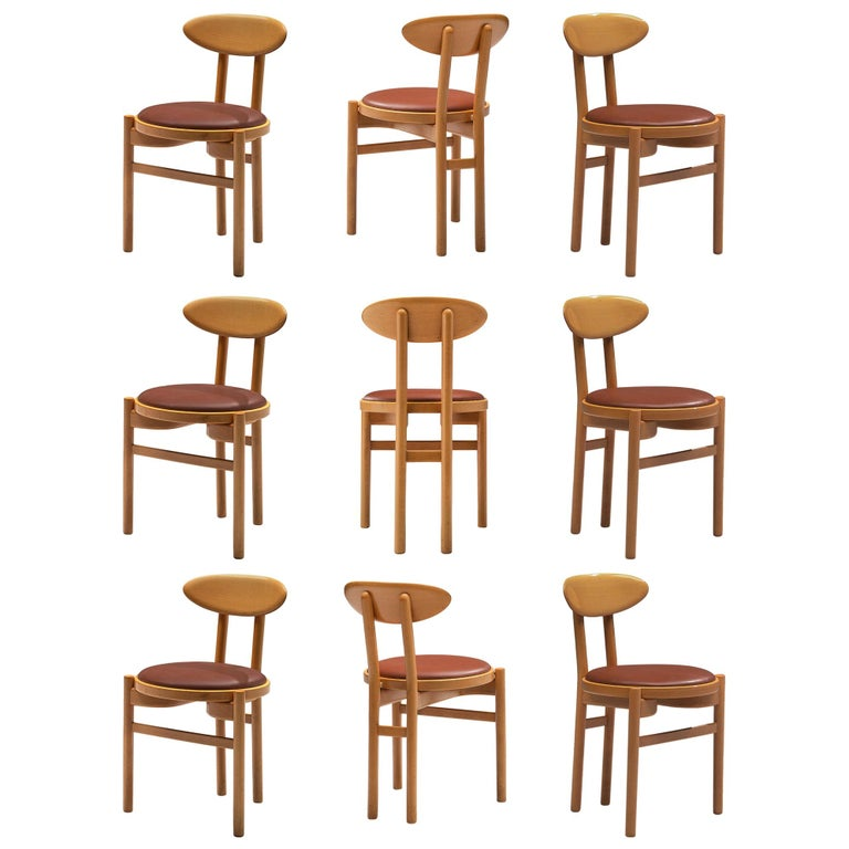 Italian Dining Chairs in Beech by Pozzi For Sale